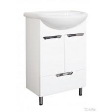 Тумба для ванной комнаты УЮТ-55/1 2 двери и 1 ящик по нижнему краю с врезными ручками и умывальником