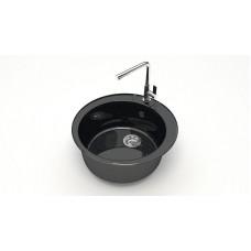 Мойка круглая ГЛЯНЕЦ черная Z5Q4 Алана Granit MARR MARRBAXX 495X195
